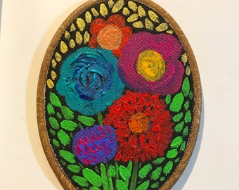 Keepsake - Original Acrylic Painting of Flowers on Stretched Canvas Framed in Embroidery Hoop, ready to hang