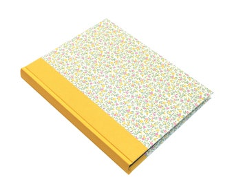 yellow white wedding album, large portrait format 9x12 with ivory white pages, floral pattern