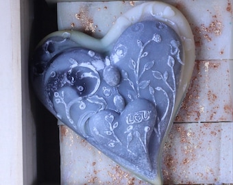 Shea and Charcoal Soap | Guest Heart Shaped Soap