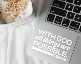 Christian decal, Christian sticker, Faith decal, Faith sticker, God decal, God sticker, Jesus decal, With God all things, Are possible