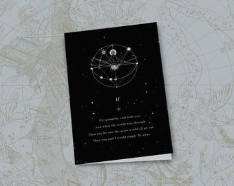 Love Card/Cosmic/Vintage/If/Anniversary Card/Valentines Day Card/Song Lyric Art/Printable Art/Lyrics/Gift For Her/Digital Prints/Moon/Stars