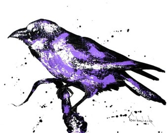 Crow, Original acrylicr painting,,Crow lover art, Crow wall art, raven by Tetiana