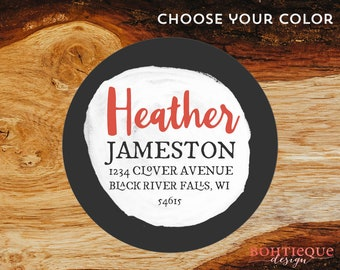 Heather Circle Initial Custom Return Address Stickers with Color Options