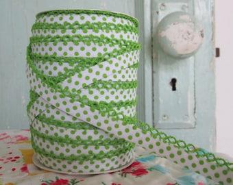 Lime on White Polka Dot Double Fold Crochet Edge Bias Tape (No. 208)