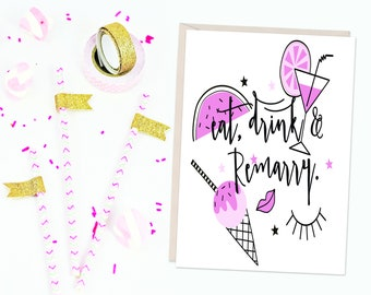 Eat, Drink and Remarry Card - Divorce Card - Congratulations
