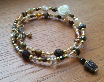 Warm Neutral & Gold Memory Wire Bracelet with Rose