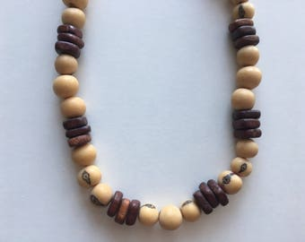 Natural cream and brown wood and açai beads
