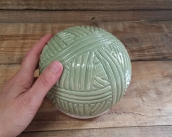 Cremation Urn - Stoneware Cremains Jar - READY to SHIP - Yarn Ball - Up to 43 lbs