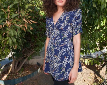 Vintage Floral Boho Tunic Dress Fitted, Size S