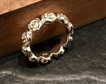 Silver Ring roses 925 sterling silver rhinestone Valentine!