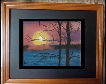 "8X10 Original Signed Pastel Painting, Sunrise Art, Landscape Painting, ""Magical Sunrise in Canada"""