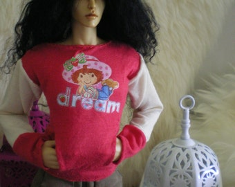 "Strawberry Dream long sleeved shirt for Chicline Tonner 16-17"" dolls"