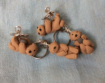 Sea Otter, Cute Otter, Clay Stitch Markers, Miniature Animal, Knitting Accessories, Knitting Notions, Knitting Helper, Sculpted, Set of 4