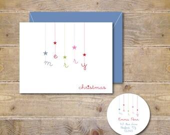 Christmas Cards, Holiday Cards, Christmas Card Set, Stars, Merry Christmas, Handmade, Holiday Greeting Cards, Christmas, Rustic