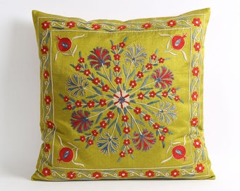 green pillow, suzani pillow cover, living room, cushion covers, sofa pillow, bedroom, ethnic pillow, suzani cushion, embroidery pillow