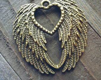 "Large Angel Wings Pendant Heart Angel Wing Pendant Ornate Wing Pendant 45mm 1.77"" Bronze Wing Charms By the Piece"