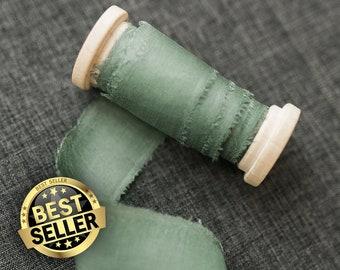 Sage Green Silk Ribbon;  100% Silk; Wedding bridal bouquet, invitations, wedding favors, wedding photography styling