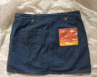Denim Jean Skirt with Painted Pocket