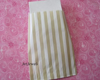 50 Paper Bags, Gift Bags, Gold Paper Bags, Candy Bags, Small Paper Bags, Favor Bags, Stripe Paper Bags, Baby Shower, Beige Bags 5x7