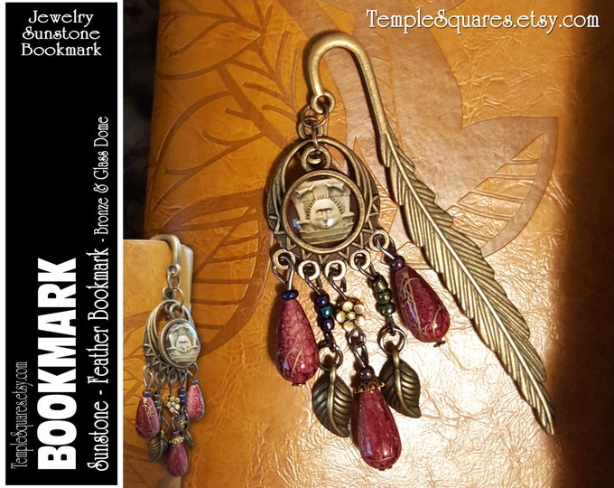 Bronze Bookmark LDS Temple Sunstone Feather and Beads. Birthday, Missionary Christmas, Visiting Teaching Relief Society Jewelry Gift YW 2017