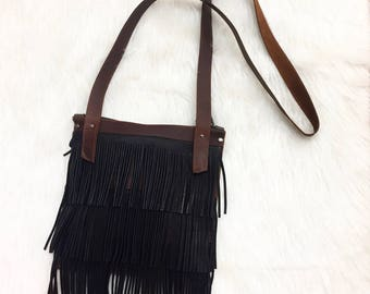 Real Leather Fringe Cross-body Two Toned Purse