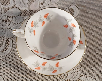Crown Staffordshire English Bone China Tea Cup and Saucer Eden Orange Berries  Buds Chintz in boxAfternoon Tea Time