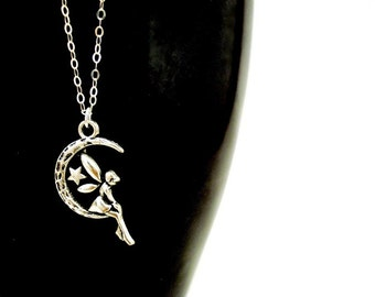 Sitting Waiting Wishing Silver Fairy Necklace, Dainty Silver Necklace, Silver Crescent Moon Necklace, Small Silver Fairy Charm Necklace