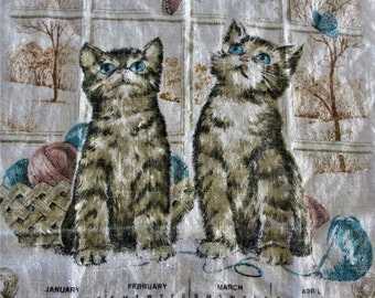 Cute kittens on linen 1981 calendar vintage