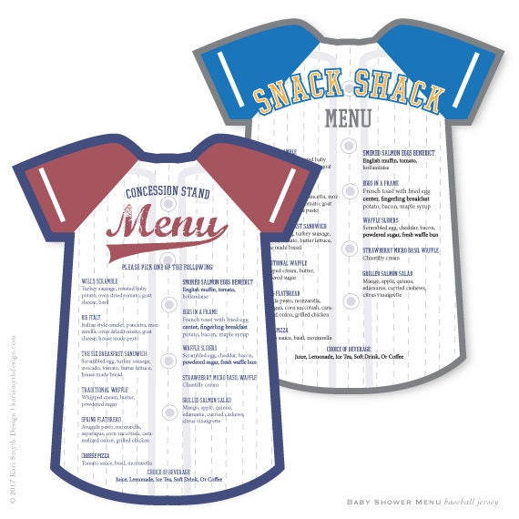 Little Rookies. Baseball Jersey Baby Shower Menu. Customize In