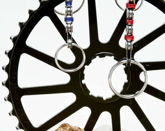 Bicycle Chain Keychain with Color Wrap