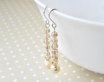 Drop Earrings - Sterling Silver - Crystal Earrings - Bridal Earrings - Wedding Earrings - Gift for Her