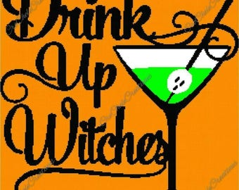 Drink Up Witches Graphgan 250x250***PATTERN ONLY***PDF File***Crochet Tunisian