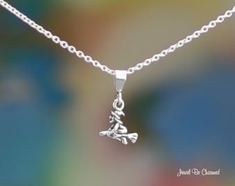 """Tiny Sterling Silver Flying Witch Necklace 16-24"""" or Pendant Only .925"""