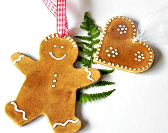 Ceramic  Christmas Ornaments, Gingerbread Man and Heart Pottery, Christmas Home Decoration, Xmas Gifts, Christmas Gift Ideas, Country Decor