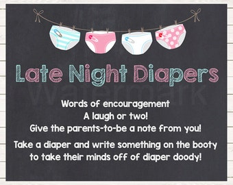 Diaper Thoughts Sign , Late Night Diapers Sign Chalkboard Pink Blue , Baby Shower Decoration  PrintablePrintable Printable