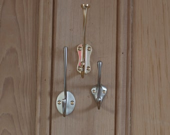 Set Of Three Metal Coat Hooks, wall storage, coat hook, hallway storage, coat tidy, door hook
