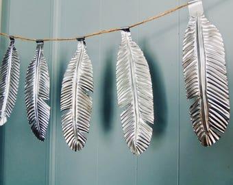feather garland, wedding decor, 10 year anniversary, rustic metal decor, silver winter decoration, shiny garland, feather art, hanging art,