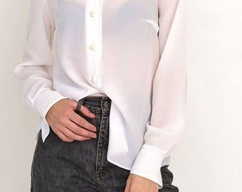 VINTAGE White Long Sleeve Retro LENA Shirt