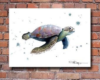 Sea Turtle Art Print -Watercolor Painting - Wall Decor