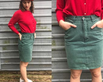 90s Jordache pine green denim pencil skirt