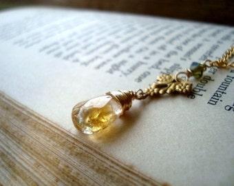 Citrine Necklace - Reverie. Art Nouveau Style Vintage Style Brass Jewelry Wire Wrapped November Birthstone Crystal Jewelry Gemstone
