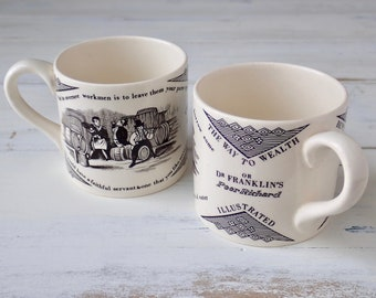 Franklin's Maxims cups, Mottahedeh museum replica children's cups, Transferware children's cups, Benjamin Franklin souvenir cups