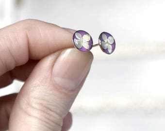 Silver studs for kids earrings Small studs for girls gift earrings purple tiny earrings post mini earrings for daughter Gift for flower girl
