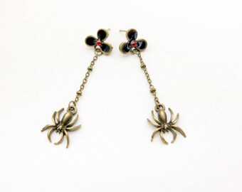 Spider earrings, Halloween earrings, hand pained, blood flower