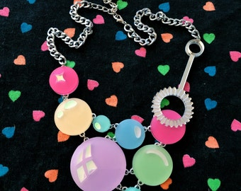 Pastel Rainbow Super Bubble & Wand Necklace, Laser Cut Acrylic, Plastic Jewelry