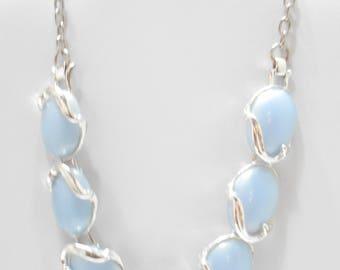 Vintage Light Blue Thermoset Choker Necklace (1752)
