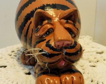 Fat Calico Gourd Cat, Fat Striped Calico Cat, Fat Cat by Vicki Thomas, Fat Cat Gourd by Enesco, Cat Lover Gift, Cat Gift,Cat Figurine