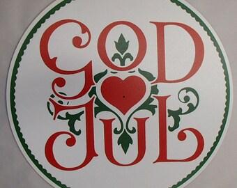 Swedish Norwegian Danish Merry Christmas God Jul Hex Sign Plaque Wall Hanging #HEX6032