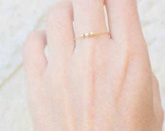 Thin Beaded Rose Gold Filled Ring Skinny Beaded Gold Ring, Minimal Chain Ring, Stacking Ring, Midi Gold Filled Ring