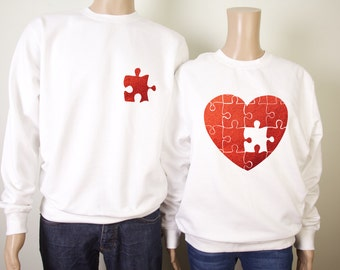 His and her's puzzle metallic red love heart sweatshirts